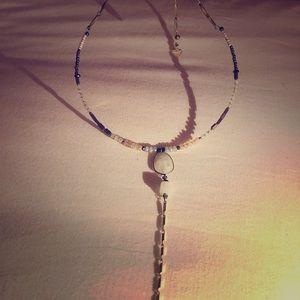 Nakamol quartz and Laborite lariat boho necklace